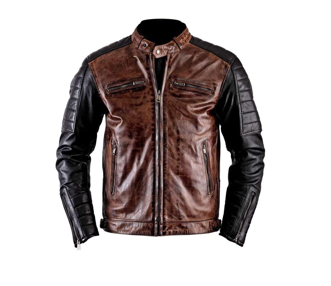 New Men's Biker Motorcycle Distressed Brown Black Moto Cafe Racer Leather Jacket - leathersguru