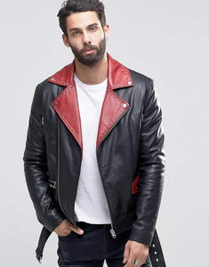 Genuine Lambskin Leather Beckham Black Biker jackets - leathersguru