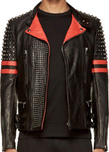 Load image into Gallery viewer, New Men's Back Red Half Silver Studded Stripes Biker Leather Jacket - leathersguru