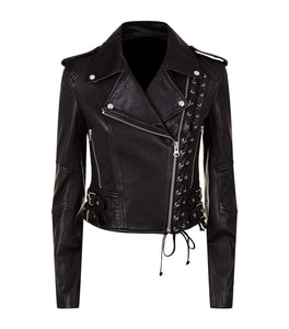 New Women's Black Slim Fit Moto Biker Style Real Leather Jacket - leathersguru