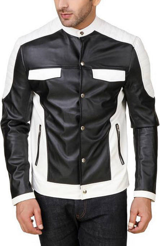 New Handmade Genuine Lambskin Leather Jacket,Black White Biker Motorcycle jacket