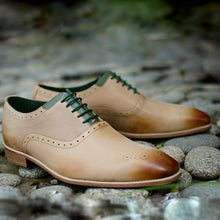 Load image into Gallery viewer, New Handmade Men Oxford light tan Leather Dress Shoe,Men dress shoes,