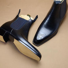 Load image into Gallery viewer, New Men's Handmade Black Brogue Leather Dress Formal Chelsea Boots