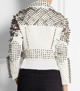 New Woman Full White Punk Brando Spiked Studded Leather Jacket