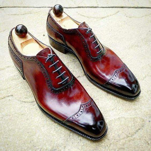 Handmade Burgundy Wing Tip Lace Up Shoe - leathersguru