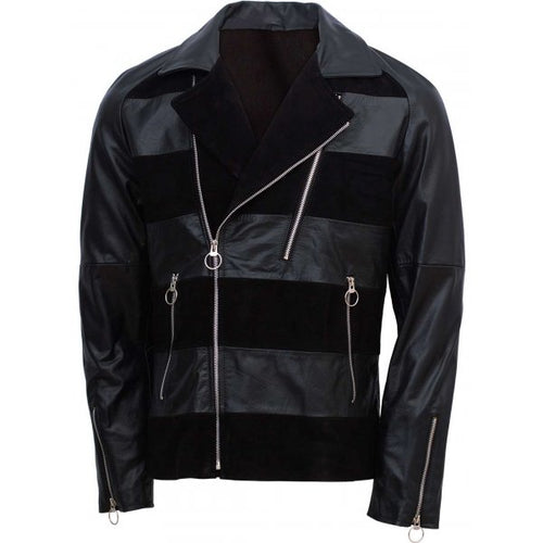 Party Wear Black Leather Jacket For Men's