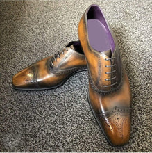 Load image into Gallery viewer, Handmade Men's Tan Leather Black Brogue Toe Shoes - leathersguru