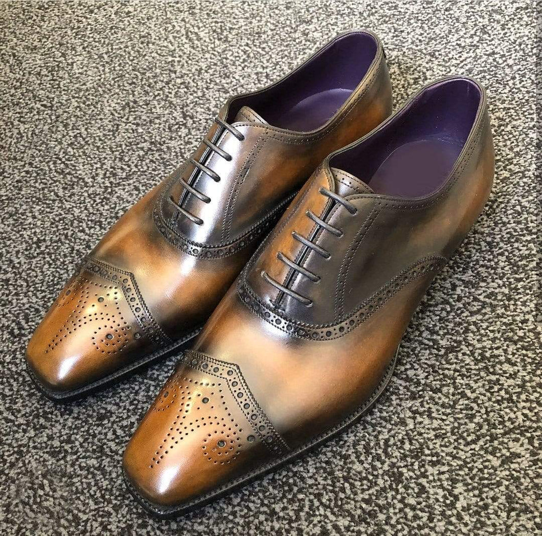 Handmade Men's Tan Leather Black Brogue Toe Shoes - leathersguru