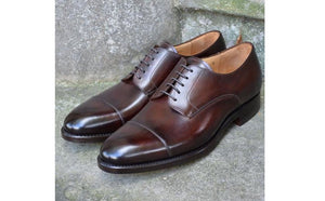 Men's Dark Brown Cap Toe Shoes,Hand Painted Pure Leather Shoes