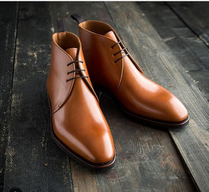 Tan Round Toe Lace Up Leather Shoes,Men's Shoes