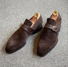 Load image into Gallery viewer, Loafer Suede Monk Strap Dark Brown,Men's Oxford Shoes