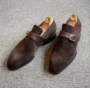 Loafer Suede Monk Strap Dark Brown,Men's Oxford Shoes