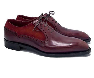 Handmade Burgundy Leather Suede Lace Up Shoe - leathersguru