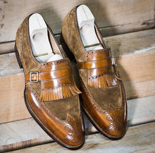 Load image into Gallery viewer, Two Tone Brown Fringe Monk Strap Leather Suede Shoes For Men's