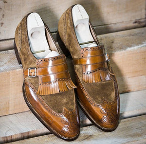 Two Tone Brown Fringe Monk Strap Leather Suede Shoes For Men's