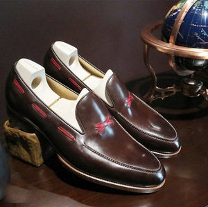 Bespoke Brown Loafer Leather Shoes,Men's Stylish Party Shoes