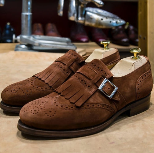 Hand Crafted Brown Wing Tip Shoes Fringe With Monk Straps Suede Shoe, Men Shoes,Dress Shoes - leathersguru