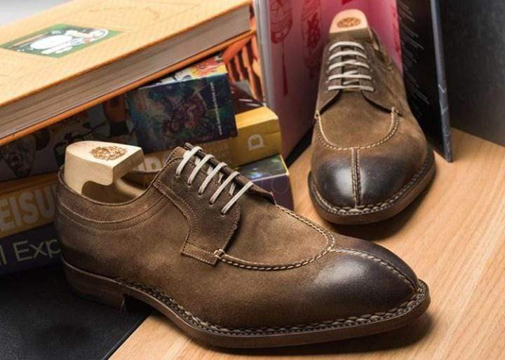 Men's Leather Suede Brown Split Toe Oxford Shoes - leathersguru
