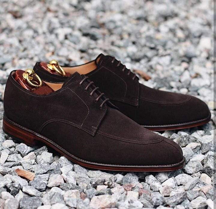 Men's Suede Chocolate Brown Split Toe Shoes - leathersguru