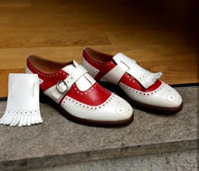 Load image into Gallery viewer, Bespoke Red White Leather Monk Strap Fringe Shoes for Men's - leathersguru