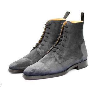 Handmade Men's Ankle High Gray Suede Cap Toe Lace Up Boot - leathersguru