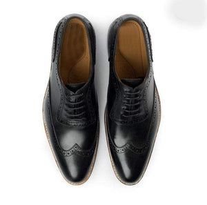 Handmade Men's Black White Leather Lace Up Wing Tip Shoe - leathersguru