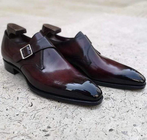 Handmade Two Tone Burgundy Monk Strap Leather Shoe - leathersguru