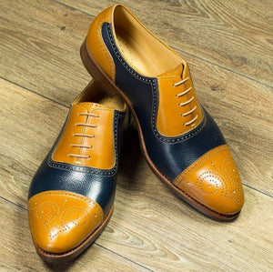 Bespoke Yellow & Blue Leather Cap Toe Lace Up Shoe for Men's - leathersguru