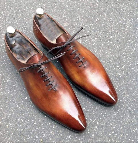 Handmade Two Tone Brown Derby Lace Up Leather Shoe - leathersguru