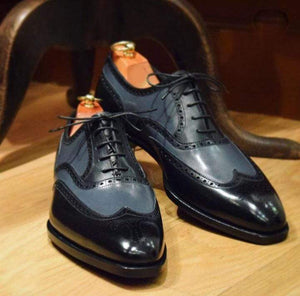 Handmade Black Gray Wing Tip Leather Shoe - leathersguru