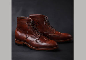 Bespoke Brown Half Ankle Leather Wing Tip Lace Up Boots - leathersguru