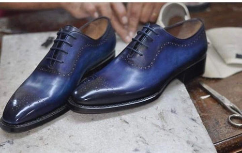 Handmade Two Tone Blue Derby Brogue Leather Shoe - leathersguru
