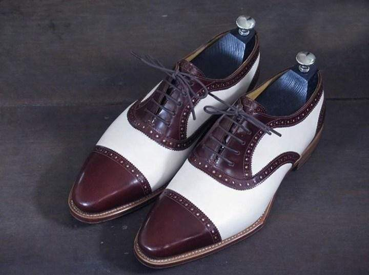 Handmade Men's Leather Brown White Cap Toe Shoes - leathersguru