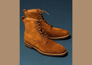 Bespoke Tan Suede Ankle High Lace Up Boot - leathersguru