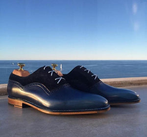 Handmade Navy Blue Leather Suede Derby Shoes - leathersguru