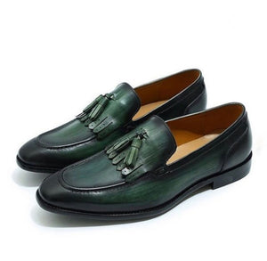 Bespoke Green Leather Fringe Tussle Loafer Shoe for Men - leathersguru