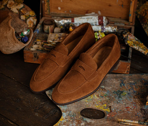 Brown Penny Loafer Suede Shoes,Men's Oxford Shoes