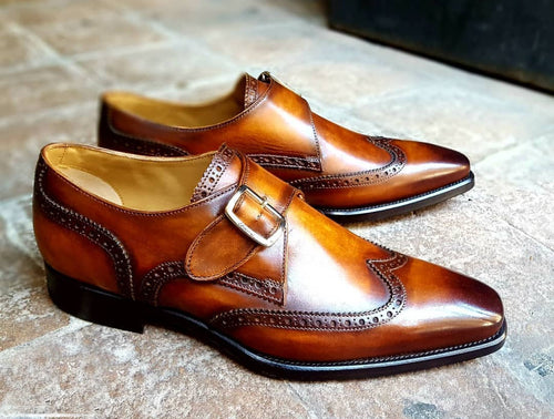 Bespoke Brown Leather Wing Tip Monk Strap Shoes for Men - leathersguru