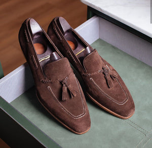 Bespoke Brown Suede Square Toe Tussles Loafer Shoes for Men's - leathersguru