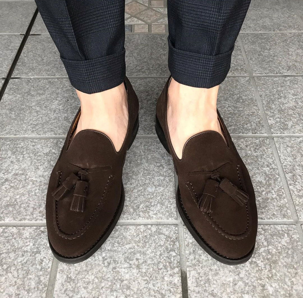 Bespoke Brown Suede Round Toe Tussles Loafer Shoes for Men's - leathersguru