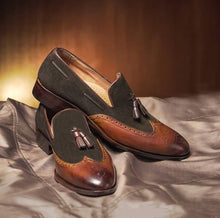 Load image into Gallery viewer, Handmade Brown Leather Suede Tussles Loafers Shoes - leathersguru