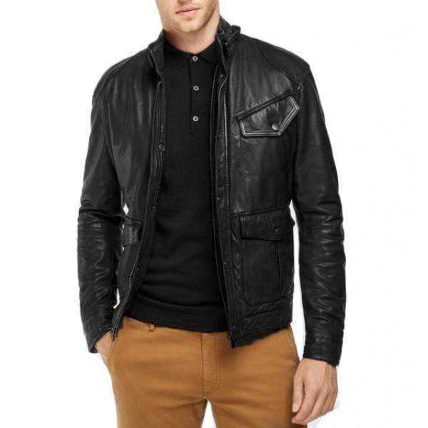 Men's Slim Fit Style motorbike vintage leather Black jacket - leathersguru