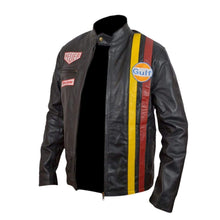 Load image into Gallery viewer, Yellow Red Steve McQueen grand Prix gulf leather Black jacket - leathersguru