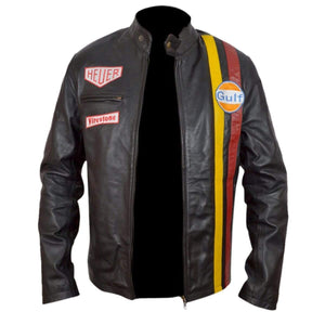 Yellow Red Steve McQueen grand Prix gulf leather Black jacket - leathersguru