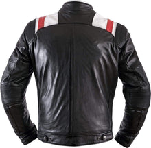 Load image into Gallery viewer, Black White Red Strip Real Leather Pocket Men's Jacket - leathersguru