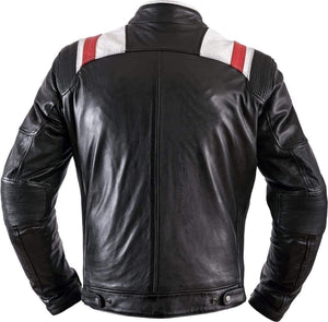 Black White Red Strip Real Leather Pocket Men's Jacket - leathersguru
