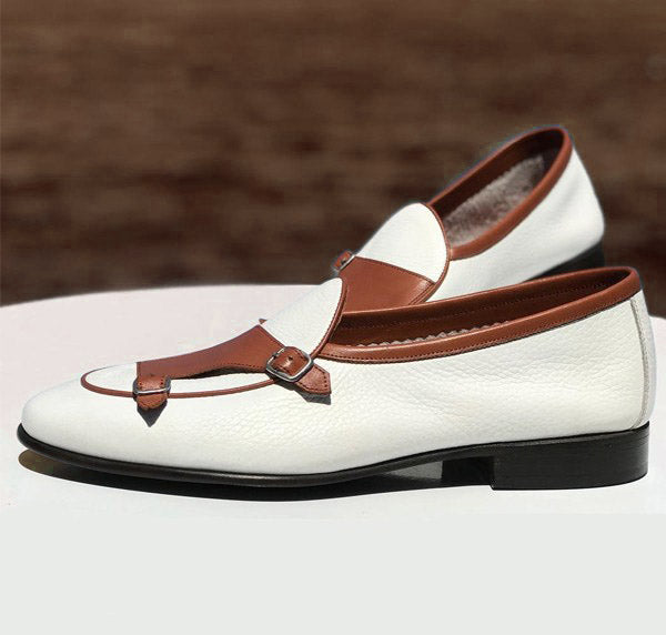 Two Tone Pebbled With Double Monk Leather Shoes, Moccasin slip on Shoes