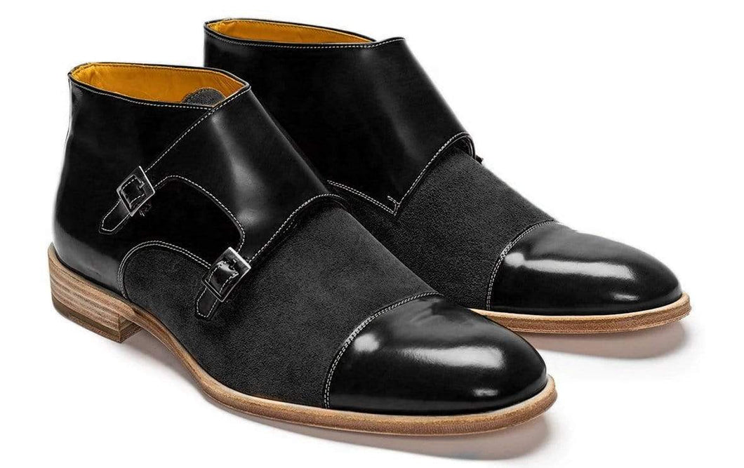 Handmade Men's Ankle High Black Leather Suede Cap Toe Monk Boot - leathersguru