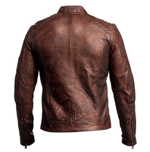 Load image into Gallery viewer, Vintage Cafe Racer Jacket Men Distressed Brown Slim fit Motorcycle Leather Jacket - leathersguru