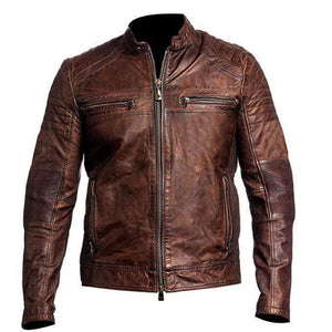 Vintage Cafe Racer Jacket Men Distressed Brown Slim fit Motorcycle Leather Jacket - leathersguru